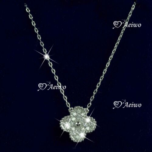 925 sterling silver simulated diamond pendant chain necklace flower clover
