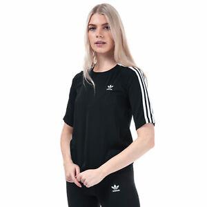 Mujer-Adidas-Originales-3-Rayas-Camiseta-en-Negro