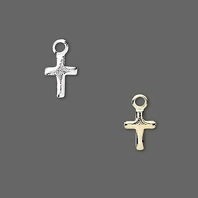 Lot of 144 Small Little Religious Cross Drop Charms Plated Over Brass Base Metal