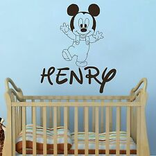 Mickey Mouse Wall Decals Custom Baby Name Sticker Decal Boy Room Nursery DR87