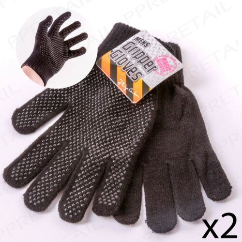 2 Pairs ONE SIZE FITS ALL Men's Black Gripper Gloves Driving/Lifting Warm Winter