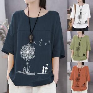 Mode-Femme-Ample-Casual-Manche-3-4-Col-Rond-Floral-Loisir-Haut-T-Shirt-Plus
