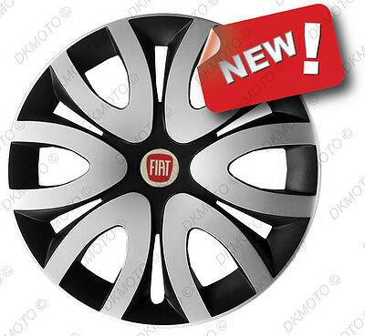 """4x15"""" Wheel trims Wheel covers fit Fiat 15"""" full set silver/black  OUTLET"""