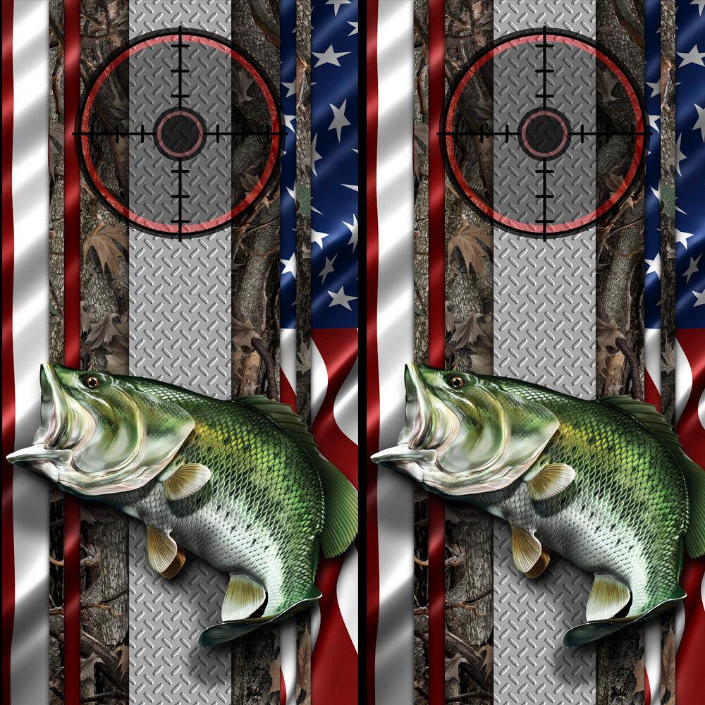 Cornhole Wraps American Flag Hunting Fishing Gun Scope Image Oak SET OF 2
