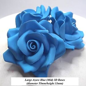 6 or 12 Large Azure Blue 3D Sugar Roses cake decorations 55mm NON-WIRED 3 1