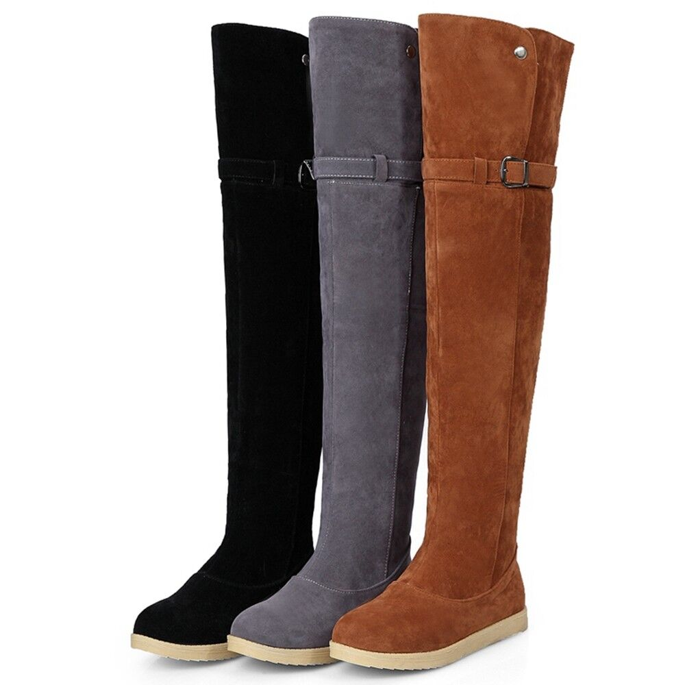 Women Over the Knee High Boots Fashion Winter Snow Long Plush Warm Casual shoes