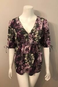 Ann-Taylor-Loft-Purple-Gray-Floral-3-4-Sleeve-Tunic-Top-Blouse-Size-M
