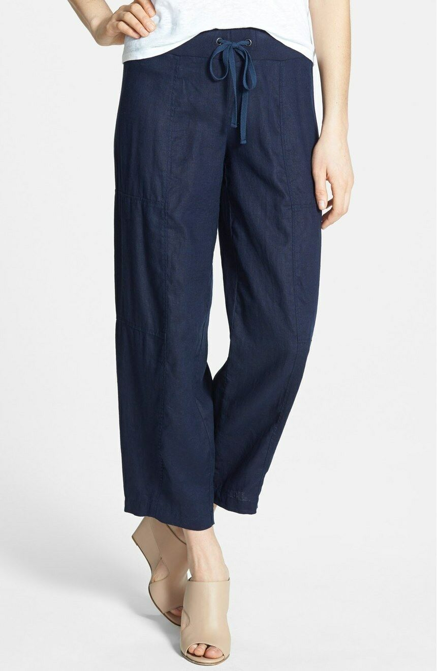 Eileen Fisher Organic Linen Wide Leg Midnight Navy Ankle Pants