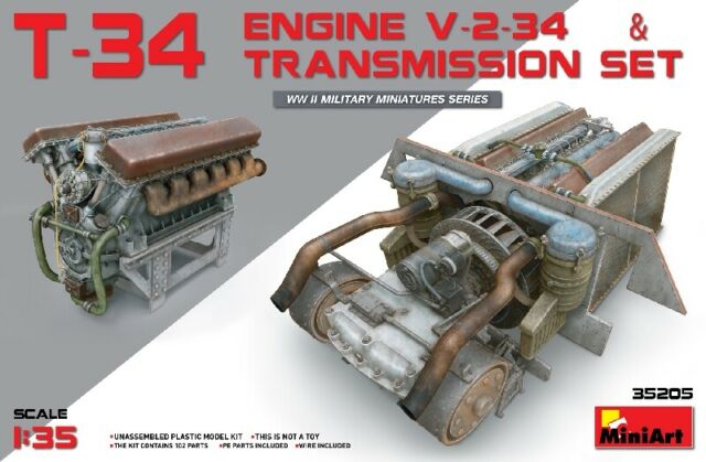 T-34 Engine (v-2-34) & Transmission Set 1:35 Plastic Model Kit MINIART