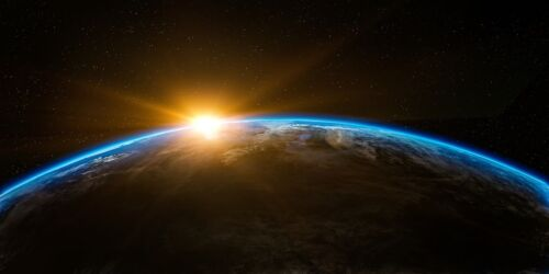 SUNRISE OVER PLANET EARTH FROM SPACE POSTER PRINT 18x36 HI RES 9MIL PAPER