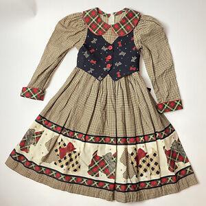 Daisy Kingdom Girls Dress 5-6 Scottie Dog Brown Gingham Red Plaid Vintage