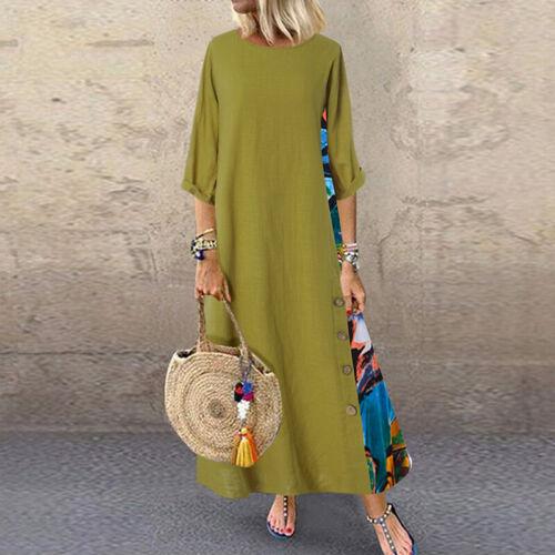 Oversize Femme Couture Robe Imprimé Floral Manches septième Loose Couture Dresse