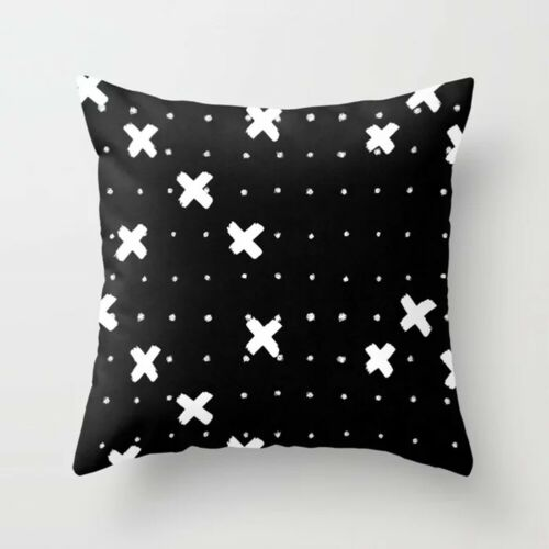 18/'/' Geometric Pillow Case Cushion Covers Black And White Polyester Throw Square