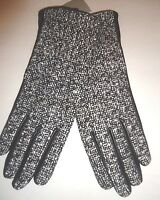 Ladies Women's Genuine Leather Gloves,m, Blk & White