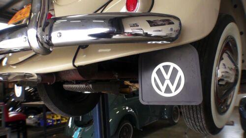 OLD VOLKS VW BUG MUD FLAPS BLACK WITH BRACKETS PAIR 1965 BEETLE FREE SHIP...