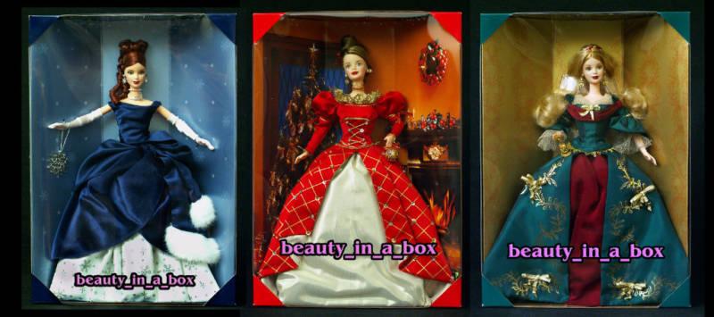 Tesoros de vacaciones Muñeca Barbie Lote 3 1999 2000 2001 Cabeza Rojo  Coleccionista Oficial