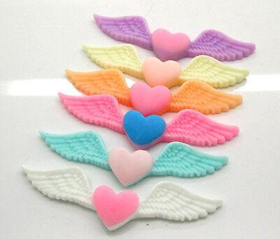 50Pcs Mixed Wings Heart Flatback Scrapbooking Resin Cabochons Craft 53x14mm
