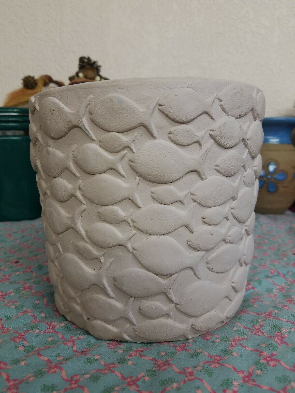 Planter Clay Pot Fish in scolds Big & små Unusual 6.5 tall 22 round