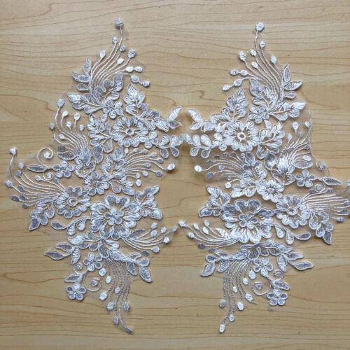 Ivory Bridal Dress Lace Applique Embroidery Wedding Dress Motif Lace Trim 1 Pair