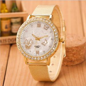 Neu-Luxus-Damen-Maedchen-Uhr-Kristall-Schmetterling-Gold-Edelstahl-Dress-Uhren