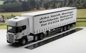 White Scania Lorry Truck Personalised Any Name or Message Model 1/50 33cm Boxed