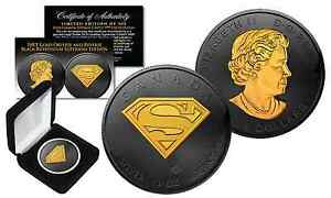 2016-CANADIAN-5-SUPERMAN-1-oz-SILVER-Coin-BLACK-RUTHENIUM-w-24KT-Gold-Select
