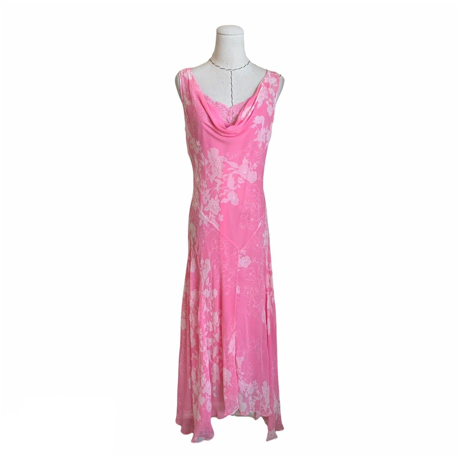 Vintage 90s Y2K Pink Silk Chiffon Bias Cut Slip D… - image 1