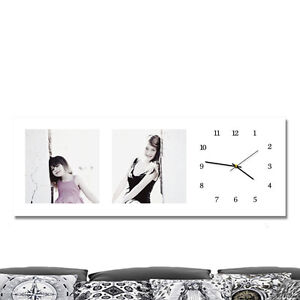 Details about 110 x 40 cm photo printed canvas picture with clock   Personalised gift/present