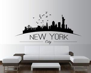large nyc new york city skyline silhouette bedroom wall art sticker