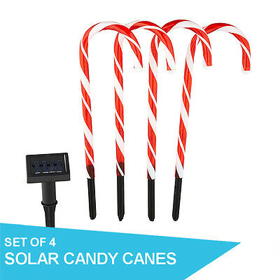 4 Pack Decorative Garden Stake Solar LED Candy Canes Christmas Light Display