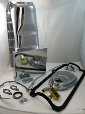 SBC Small Block Chevy Chrome 7 Quart Oil Pan Kit W/Timing Cover & Dipstick 350