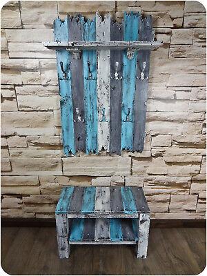 Handmade Echtholz Garderoben Set mit Sitzbank und XXL Garderobe shabby chic