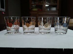 Drinking-Glasses-With-Stenciled-Flower-Patterns-4Pc-Lot-Vintage-Juice-Glasses
