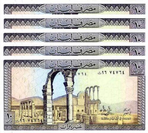 P 63f  LOT 5 PCS   Uncirculated Banknotes LEBANON 10  LIVRES  1986