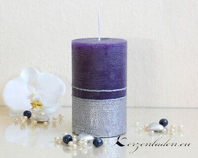 Stumpenkerze Royal lila/silber 12cm Kerzen Adventskerzen Tischdeko Weihnachten