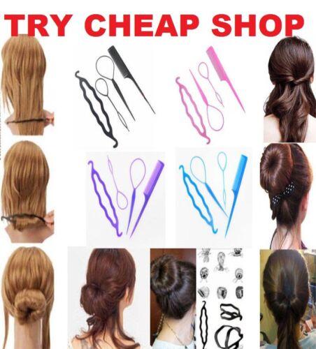 4 PZ Set Stile clip Bun Maker Twist capelli Treccia Coda di cavallo strumento Accessori