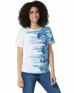 Denim-amp-Co-Womens-Printed-Short-Sleeve-Top-Small-Blue-A354142