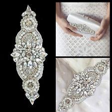 Apliques de Diamantes de Imitación Diamante Motif Coser En Plata De Boda Cristal Parche A141