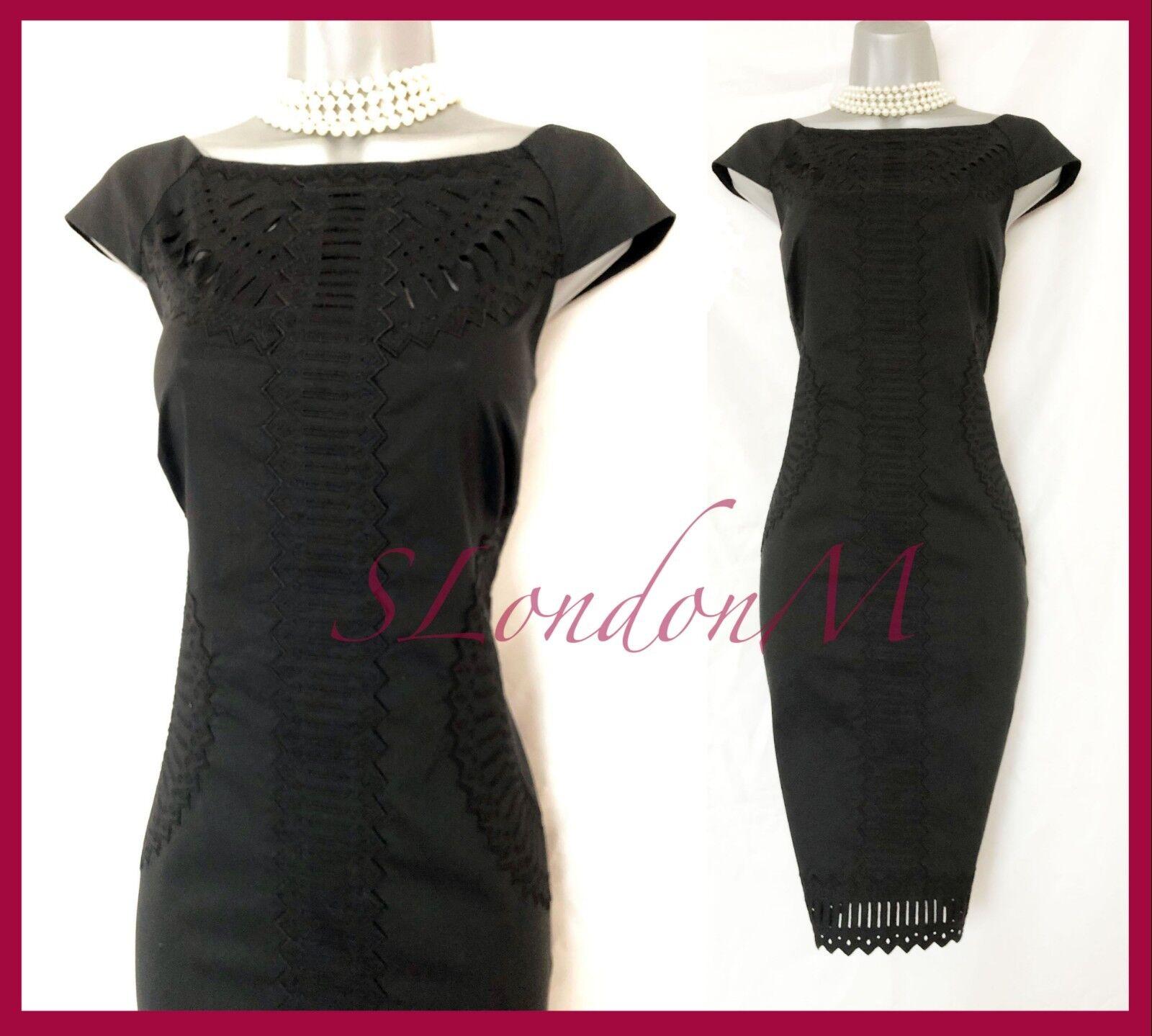 Karen Millen schwarz Cotton Embroiderot Broderie Anglaise  Dress