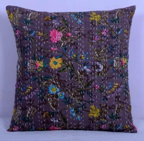 Cotton Decorative 16/'/' Kantha Cushion Cover Throw Indian Case Boho Vintage Decor