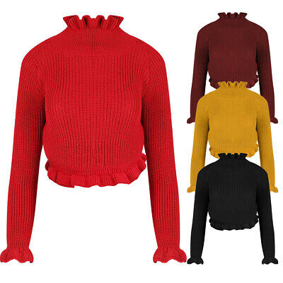 AM Women Knitted Frill Long Sleeve Crop Top Ruffle Jumper Ladies Top Knitted Top