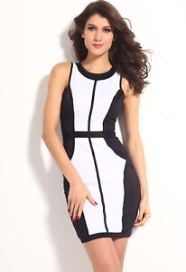 CLASSY-NEW-BODYCON-COLOUR-BLOCK-BLACK-amp-WHITE-FITTED-DRESS-SZ-10-12