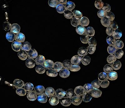 AAAAAA Rainbow Moonstone size 7-10 mm 12 pcs High Quality So Gorgeous Rainbow Fire smooth Heart Briolettes Amazing Flash Fire
