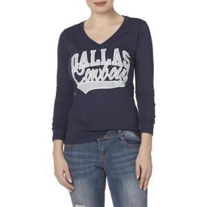 f493e448 Dallas Cowboys NFL Women's V-Neck Blue Silver Logo Long Sleeve Shirt ...