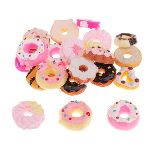 20x Kawaii Doughnut Resin Flatback Cabochons Decoden Charms DIY Phone Decor