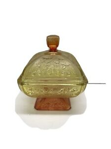 Vintage-Yellow-Orange-Indiana-Glass-Footed-Candy-Dish-With-Lid