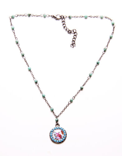 ZX42 FINE FLORAL DISC TOKEN ON GUNMETAL /& TURQUOISE BEAD NECKLACE ADJUSTS 6CM