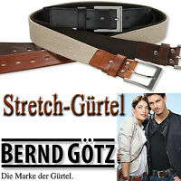 BERND GÖTZ / 35 mm breiter Stretchgürtel aus Leder & Baumwolle / dehnbar / 35924