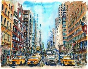 Image Is Loading A559 ORIGINAL WATERCOLOR PAINTING 034 NYC Rush Hour