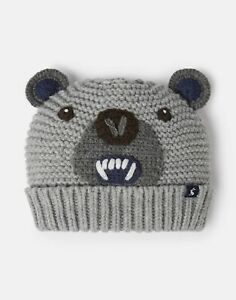 Joules-Boys-Chummy-Knitted-Character-Hat-Grey-Bear-3Yr-7Yr